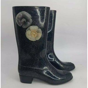 Chanel Camellia Rain Boots- Womens- Size 39- Black- Flowers- Mid Calf- Pull On